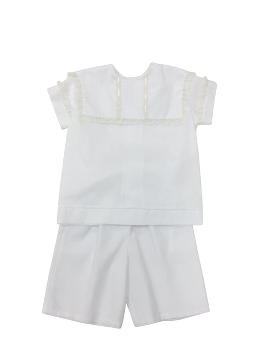 Heirloom Square Collar White Short Set