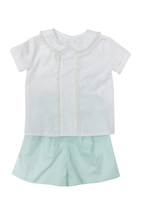 Ethan Heirloom Short Set White/Mint