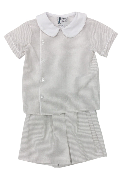 Mac Boy Set Khaki Stripe Seersucker