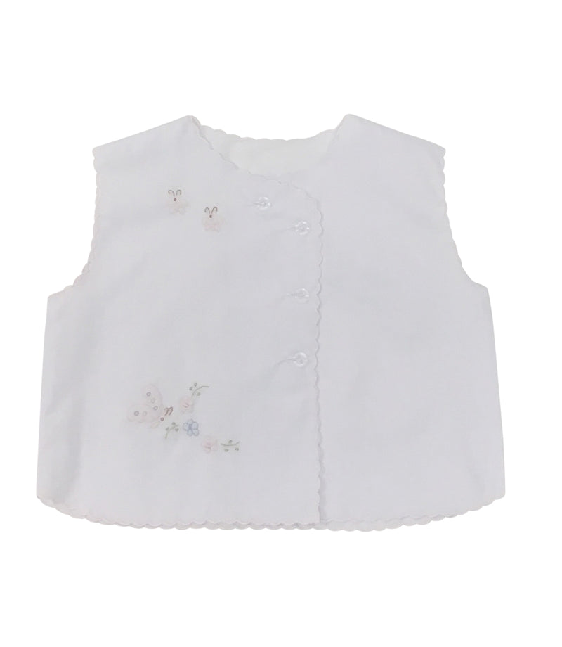 Auraluz Diaper Shirt White with Pink Butterfly - Born Childrens Boutique