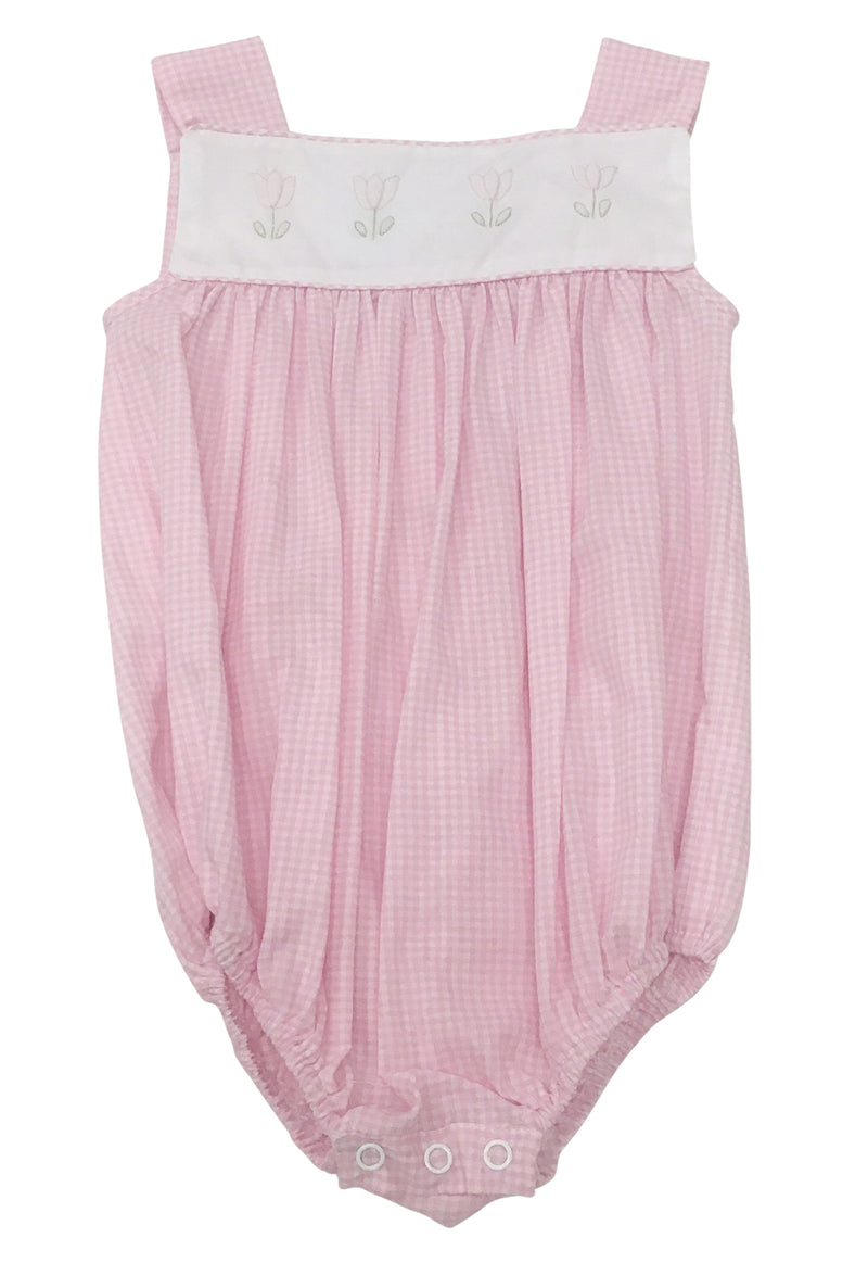 Auraluz Pink Gingham Sunbubble with Tulips - Born Childrens Boutique