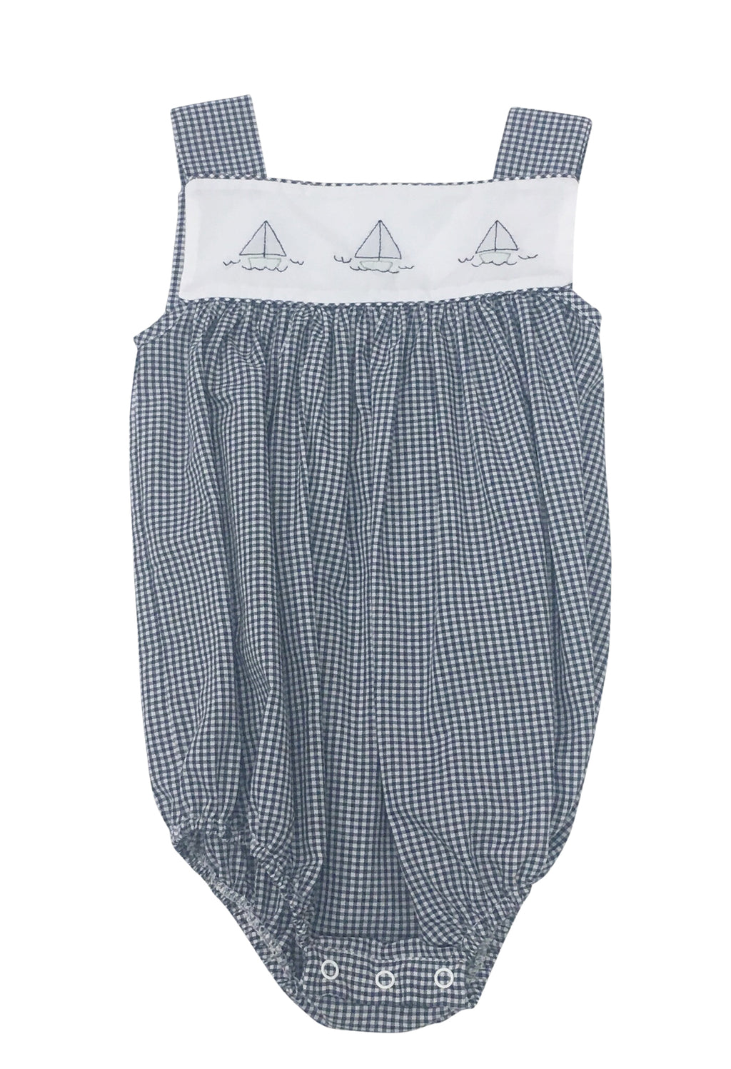Auraluz Navy Gingham Sunbubble with Navy Boats - Born Childrens Boutique