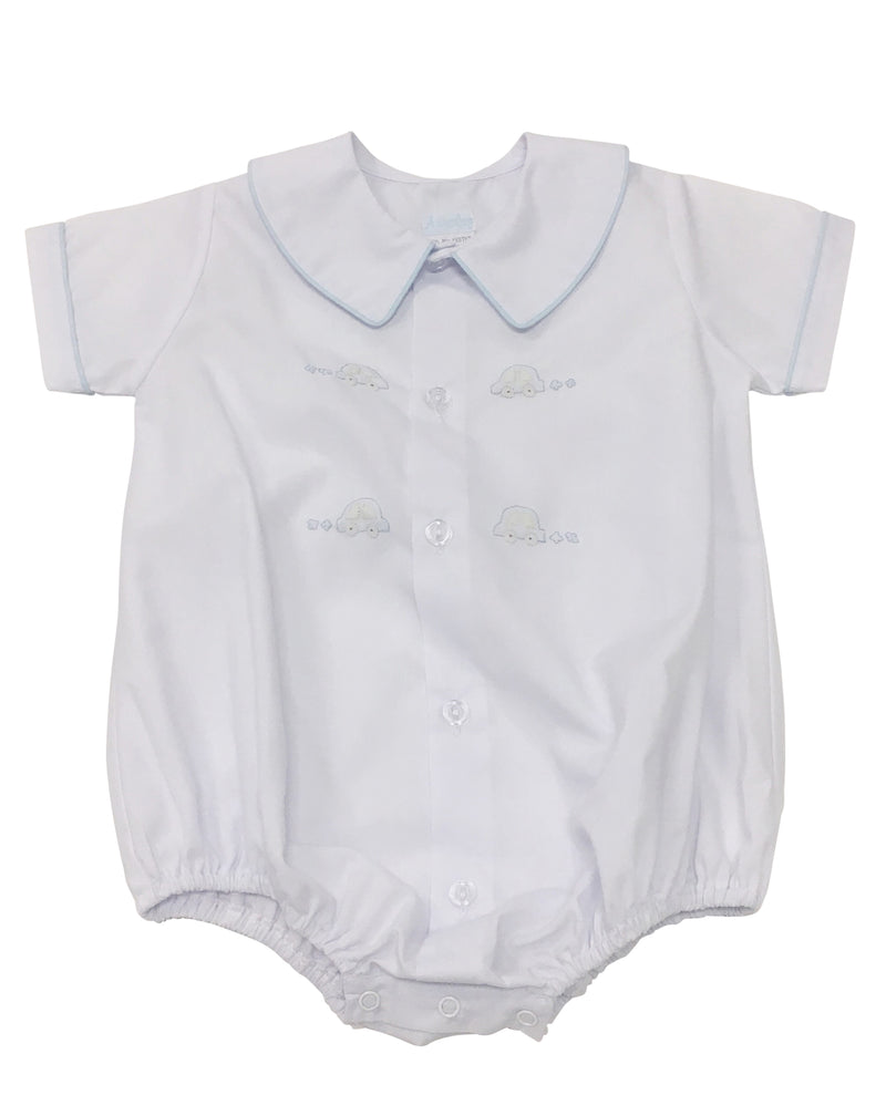 Auraluz White Button Front Bubble with Cars - Born Childrens Boutique