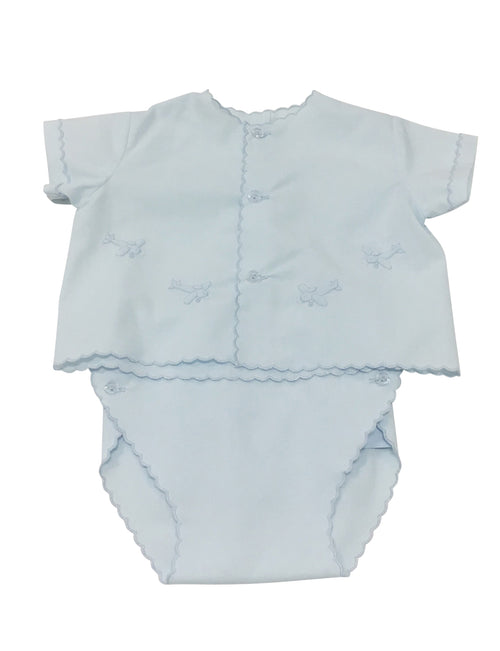 Auraluz Button Front Diaper Set Blue with Blue Planes