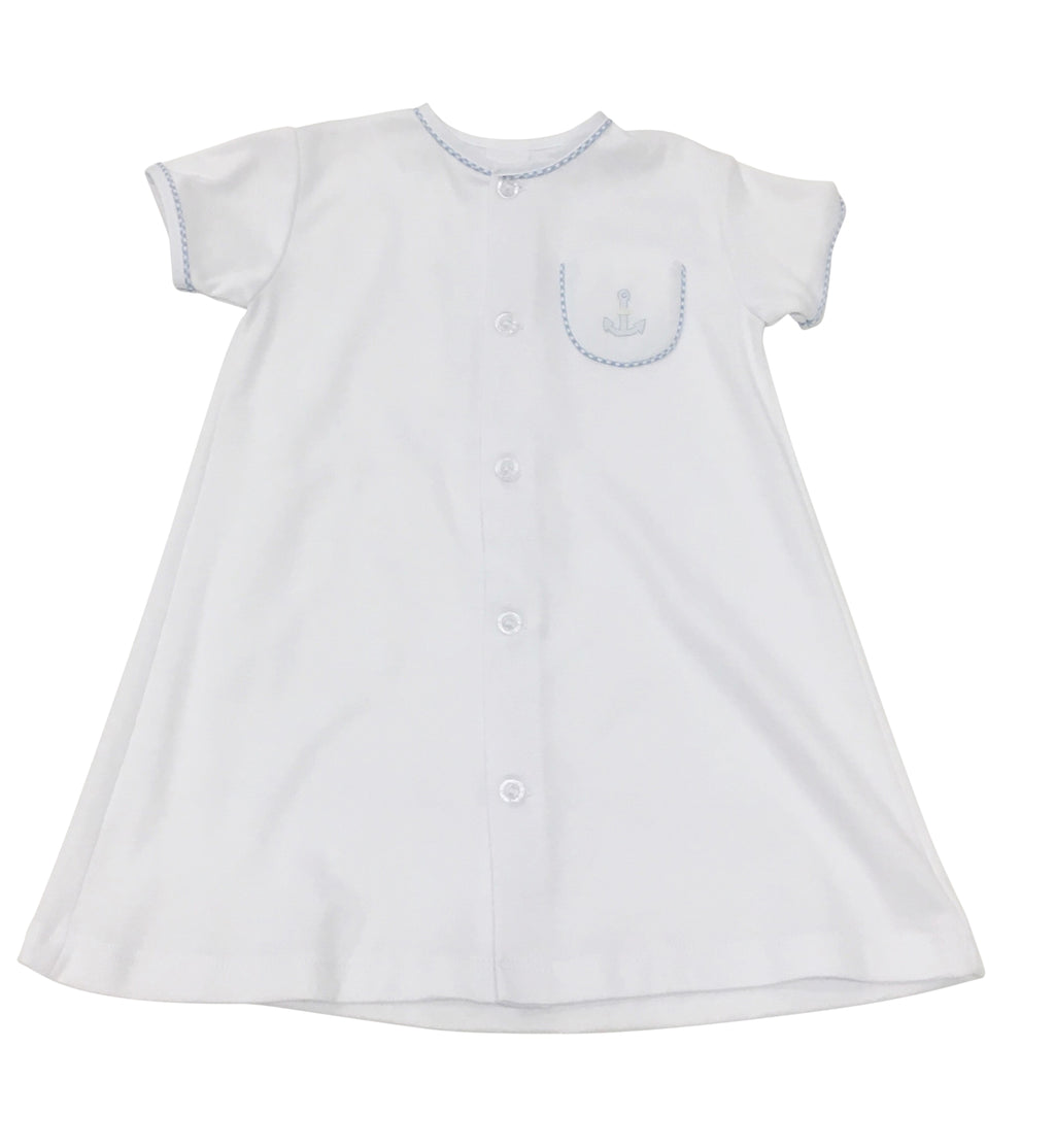 Auraluz Gown White with Anchor - Born Childrens Boutique