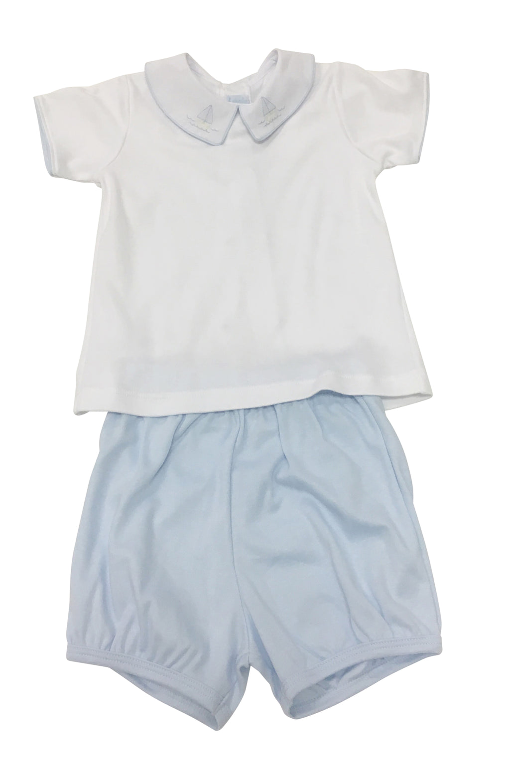 Auraluz 2 Piece Knit Set Blue Sailboat - Born Childrens Boutique