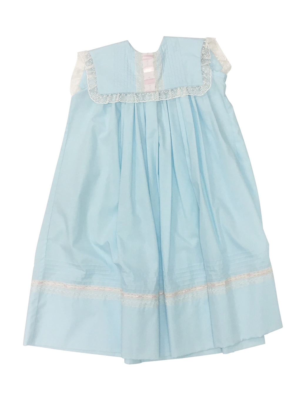 Heirloom Sleeveless Robins Egg Blue Dress with Pink Ribbon - Born Childrens Boutique