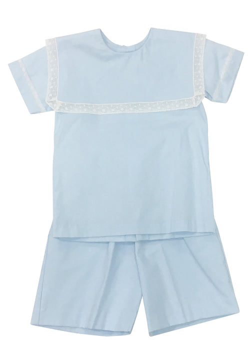 Heirloom Short Set Blue with Ecru