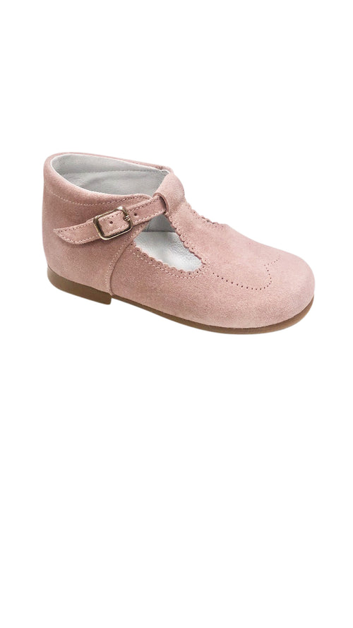 Baby Scalloped T Strap Light Pink Suede