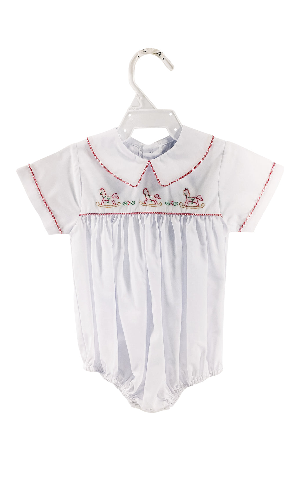 Bubble White/Red Check w/ Rocking Horse - Born Childrens Boutique