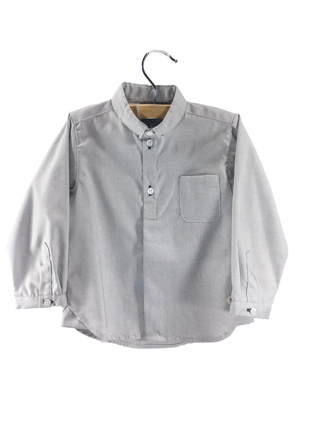 Boy Button Down Shirt Grey - Born Childrens Boutique