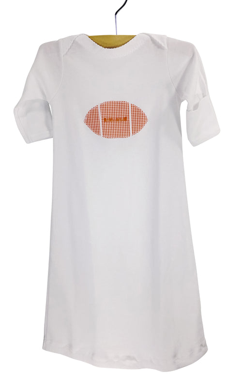 Appliqué Gown Orange Gingham Football