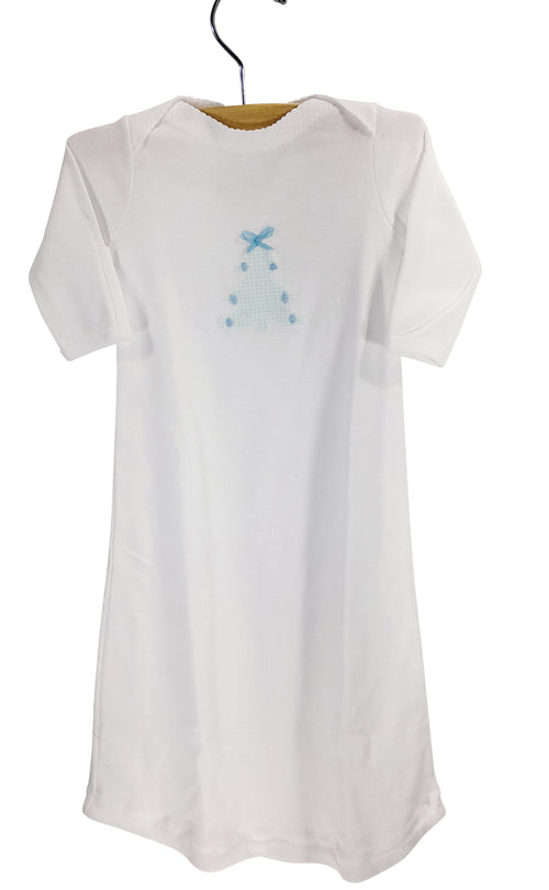 Appliqué Gown Mint Micro Gingham Christmas Tree with Blue Ribbon