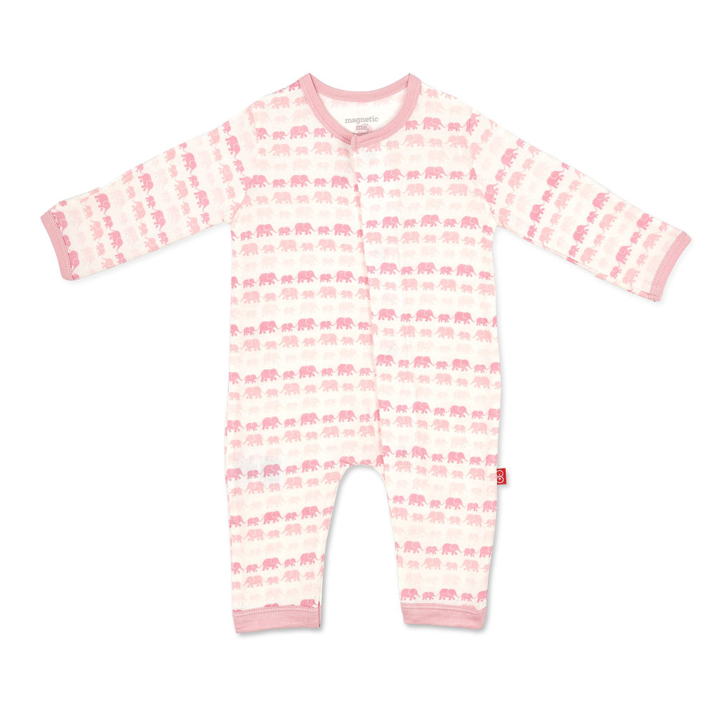 Magnetic Pink Dancing Elephants Modal Coverall - Girl Dancing Elephants - Born Childrens Boutique