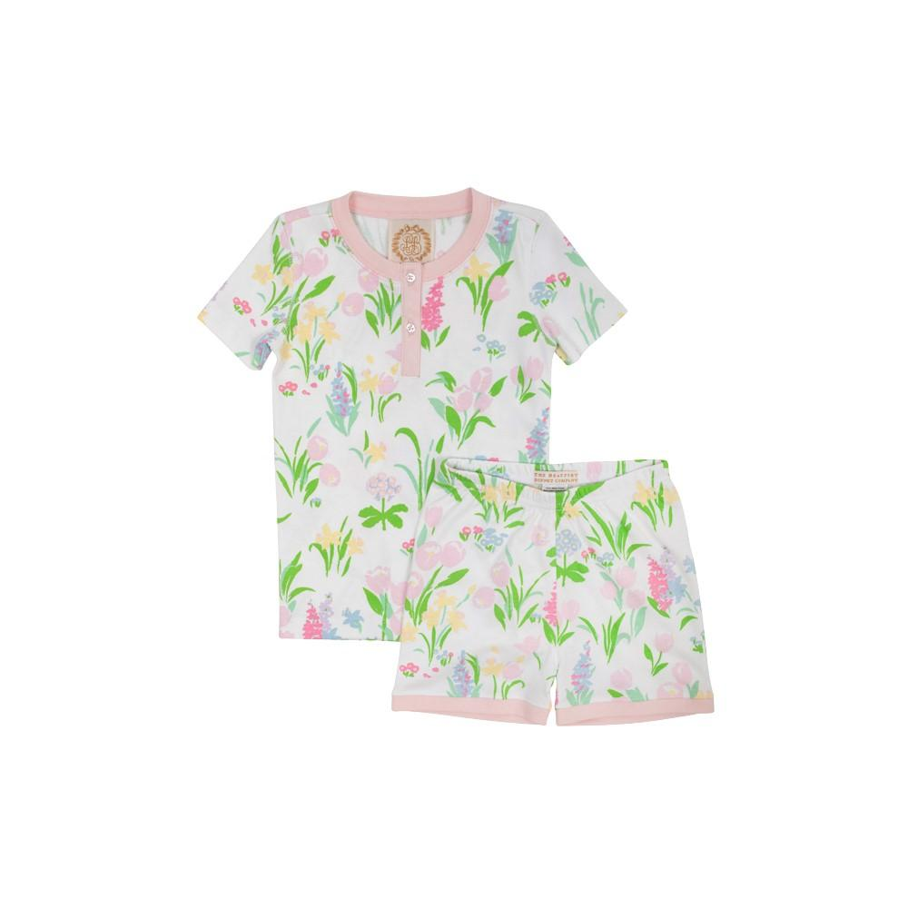The Beaufort Bonnet Company Sara Janes Short Set Belvedere Blooms-Palm Beach Pink - Born Childrens Boutique