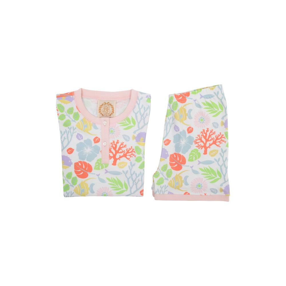 The Beaufort Bonnet Company Sara Janes Short Set - Bimini Botanical/Palm Beach Pink - Born Childrens Boutique
