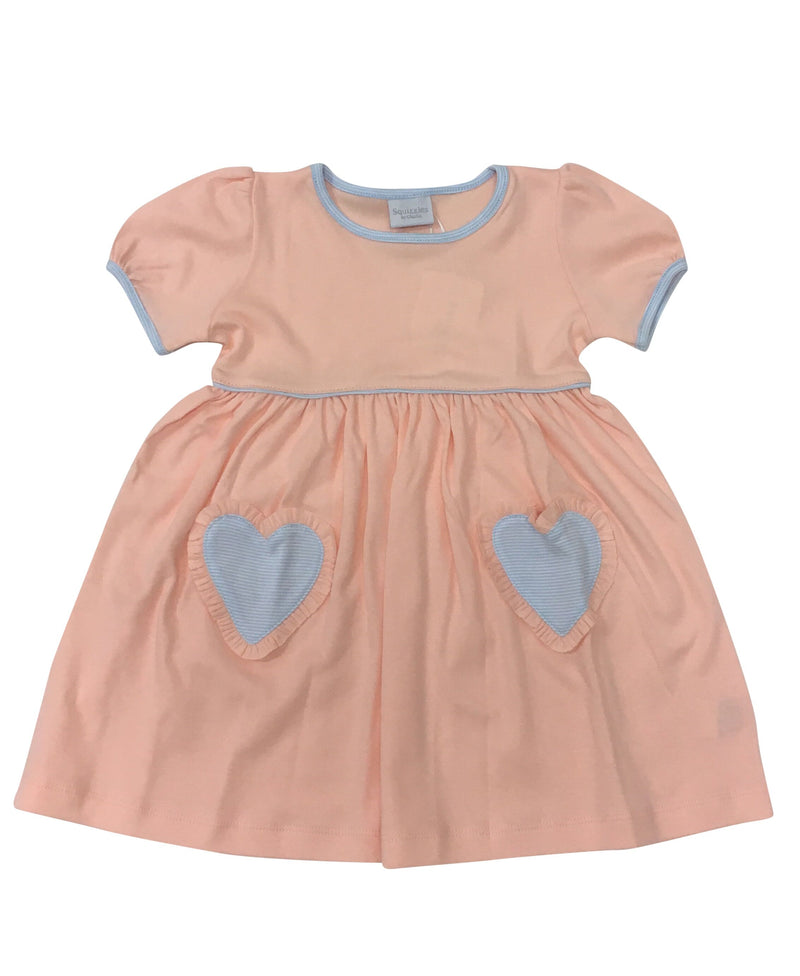 Peach Dress with Blue Heart Pocket - Born Childrens Boutique