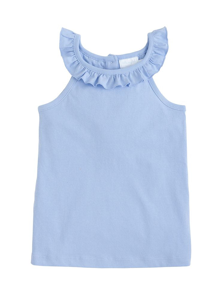 Ruffled Tank - Light Blue - Born Childrens Boutique