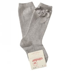Knee Socks with Grosgain Bow Light Grey