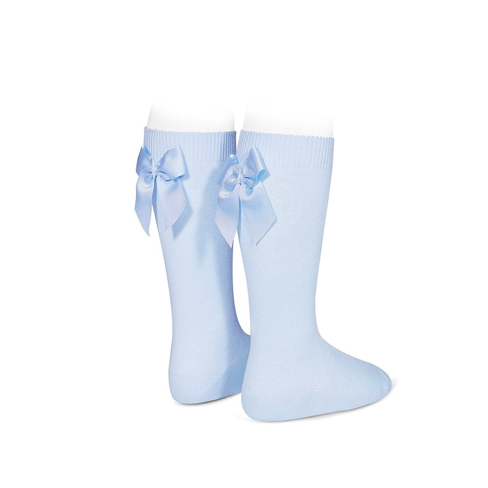 Knee Socks with Grosgain Bow on Back Light Blue - Born Childrens Boutique