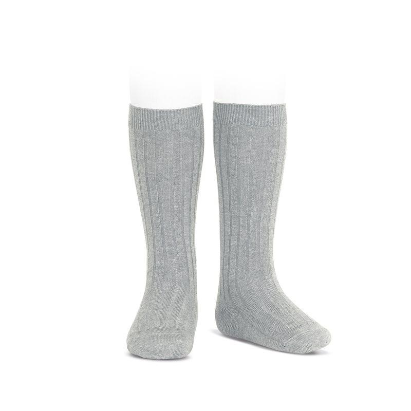 Ribbed Knee Socks Light Grey - Born Childrens Boutique