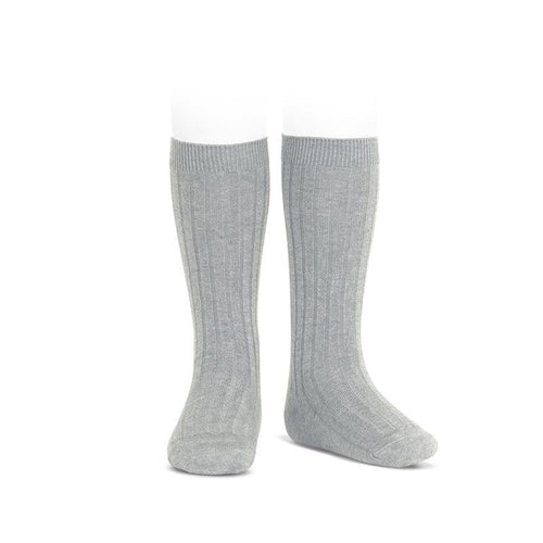 Ribbed Knee Socks Light Grey