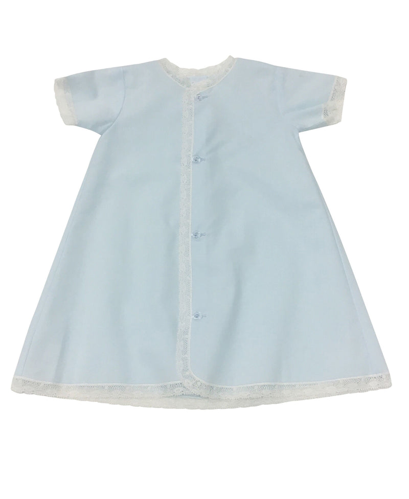 Daygown Blue with Ecru Lace - Born Childrens Boutique