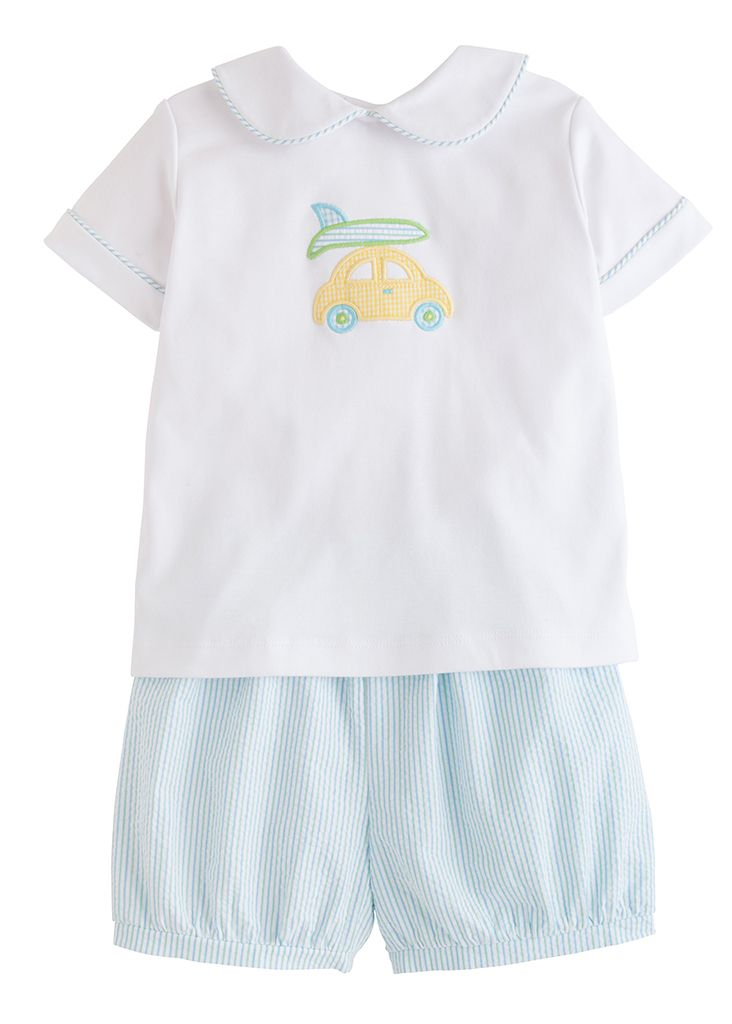 Applique Peter Pan Short Set - Dune Buggie - Born Childrens Boutique