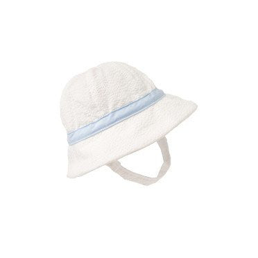 Henry Bucket Hat White Seersucker with Blue -  Email to Order