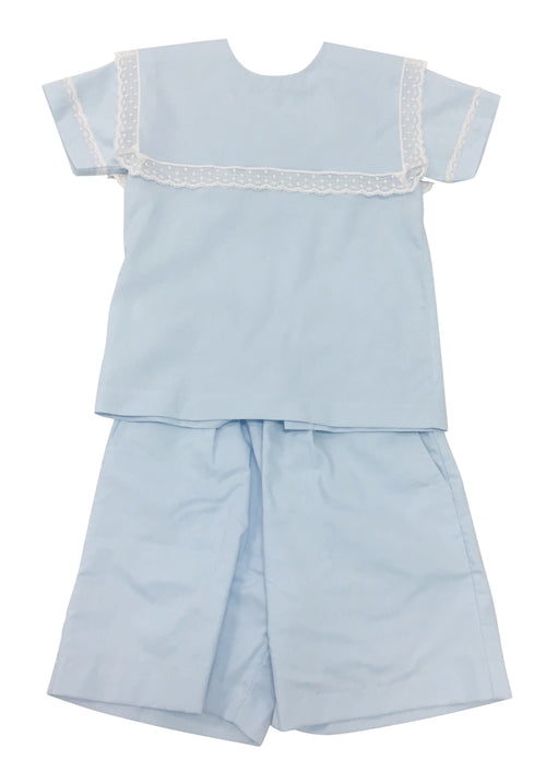 Heirloom Square Scalloped Short Set Blue with Ecru