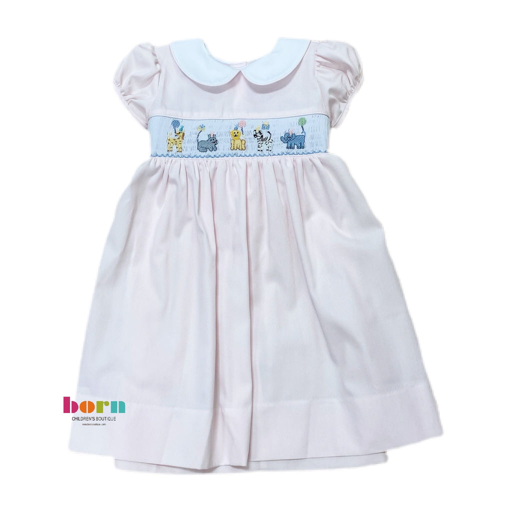 Smocked Waist Animal Birthday Dress - Born Childrens Boutique