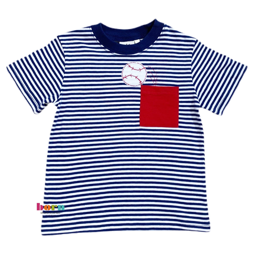 Boy Short Sleeve Shirt Dark Royal Stripe Baseball - Born Childrens Boutique