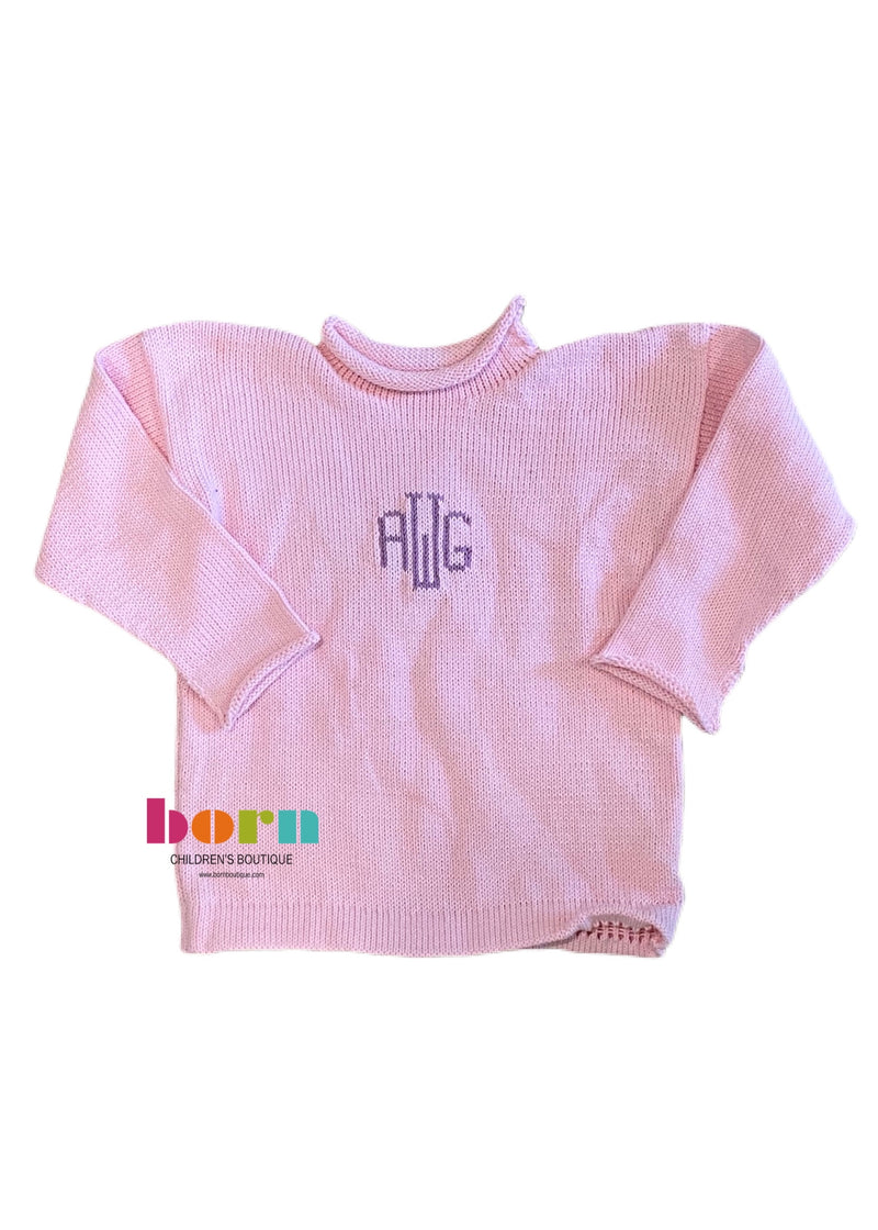 Knit Solid Initial Sweater - Born Childrens Boutique