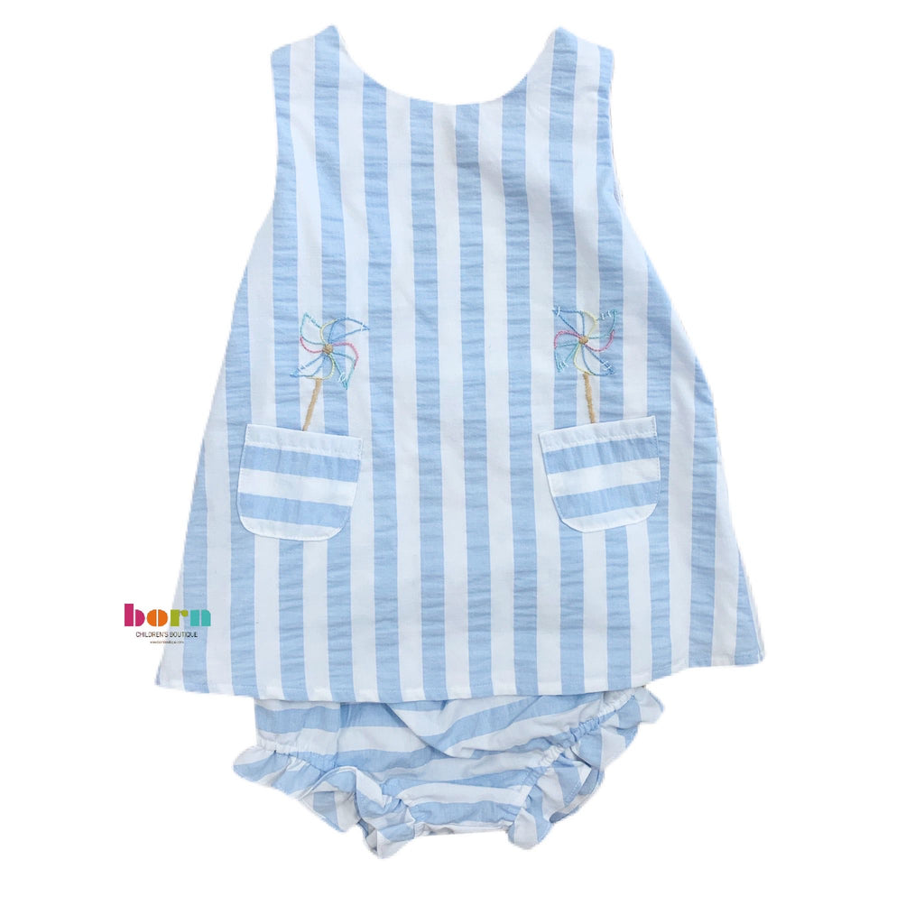 Sunny Stripe Blue Swing Set - Born Childrens Boutique