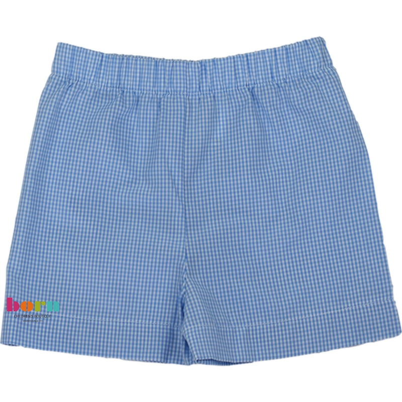 Stewart Short - Blue Gingham - Fish Lips Summer Kiss - Born Childrens Boutique