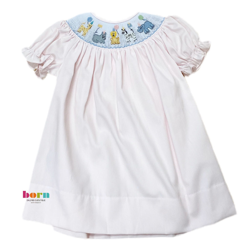 Birthday Zoo SS Smocked Bishop Dress - Born Childrens Boutique