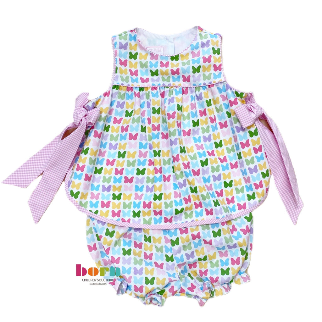 Sleeveless Bloomer Set - Butterflies Print - Born Childrens Boutique