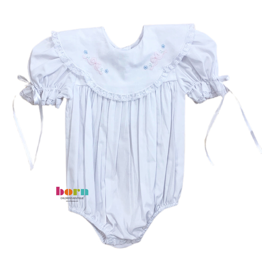 Bubble with White Lace and Pink Tiny Bow - Born Childrens Boutique