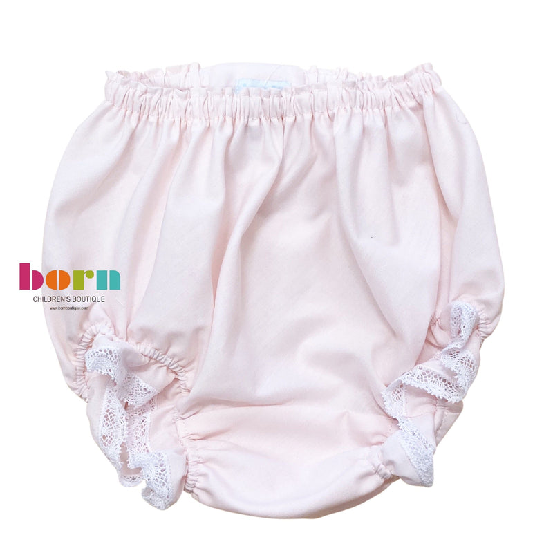 Pink Diaper Cover with White Lace - Born Childrens Boutique