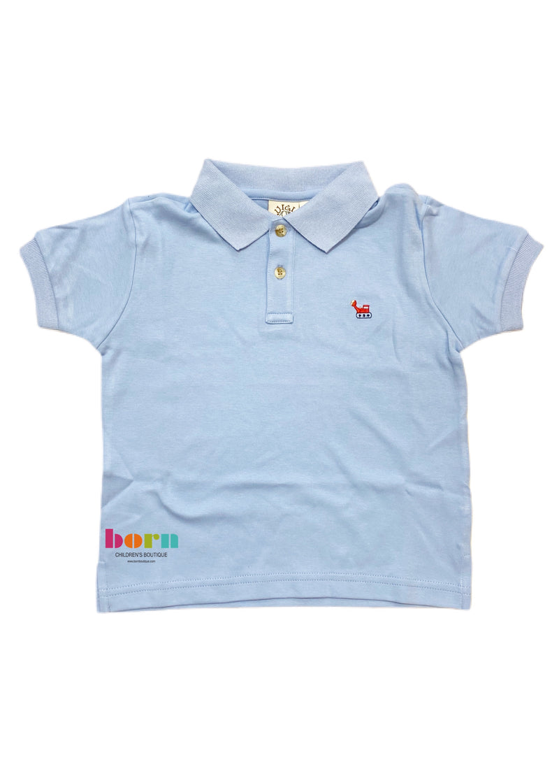 Short Sleeve Polo Sky Blue with Front Loader