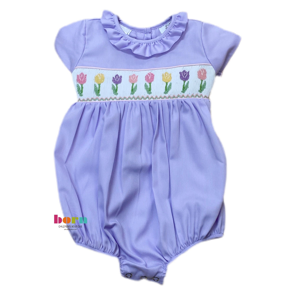 Lavender Smocked Tulip Bubble - Born Childrens Boutique