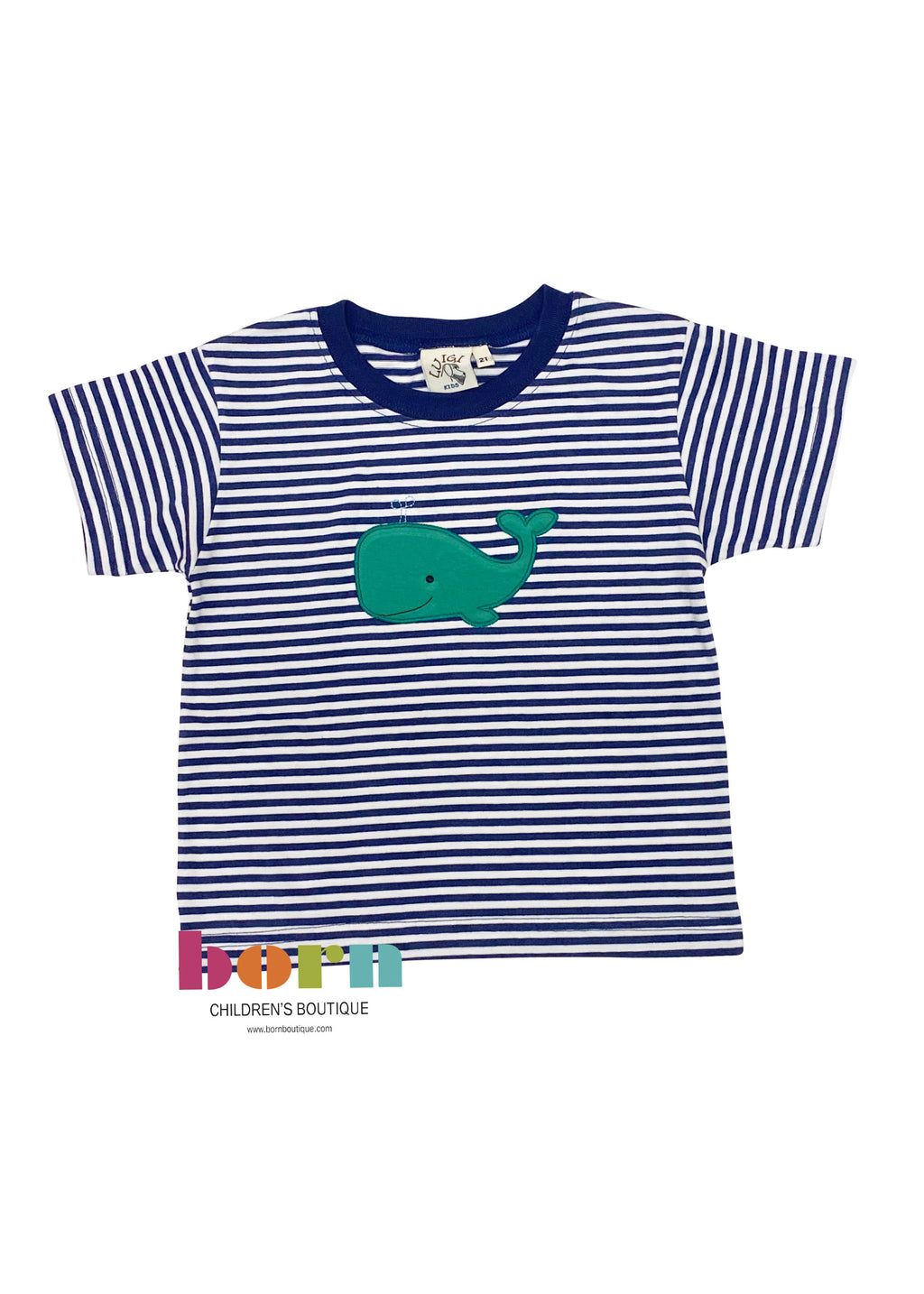 Dark Royal Stripe Whale Applique Short Sleeve Shirt - Born Childrens Boutique