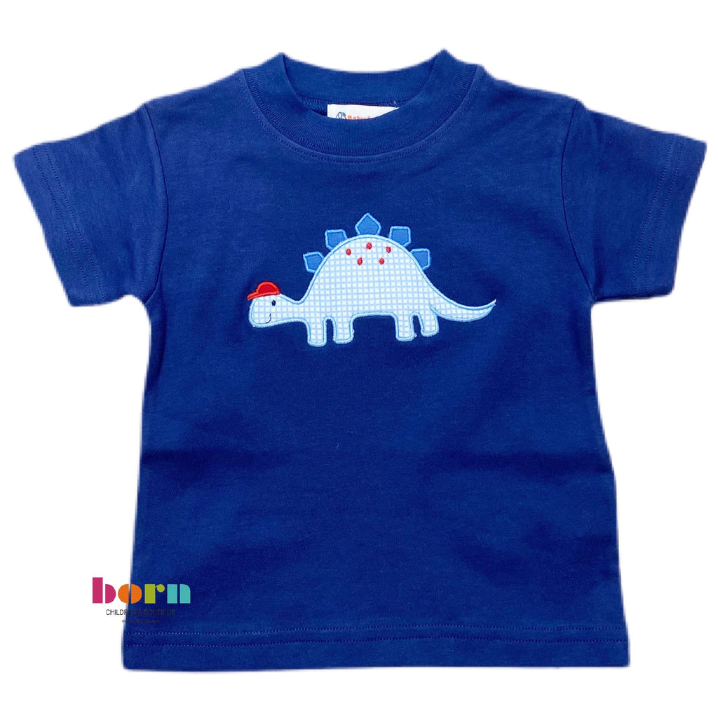 Boy S/S T-Shirt Stegosaurus with Cap Dk Royal - Born Childrens Boutique