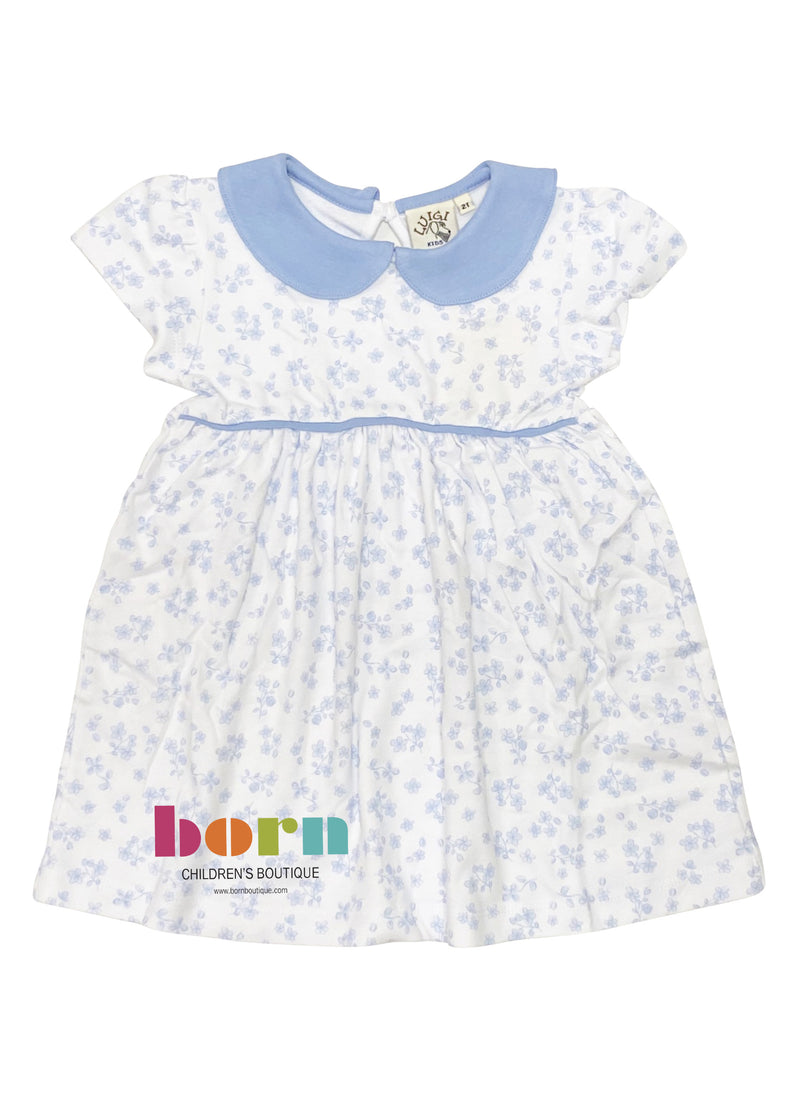 White with Sky Blue Floral Gathered Dress - Born Childrens Boutique