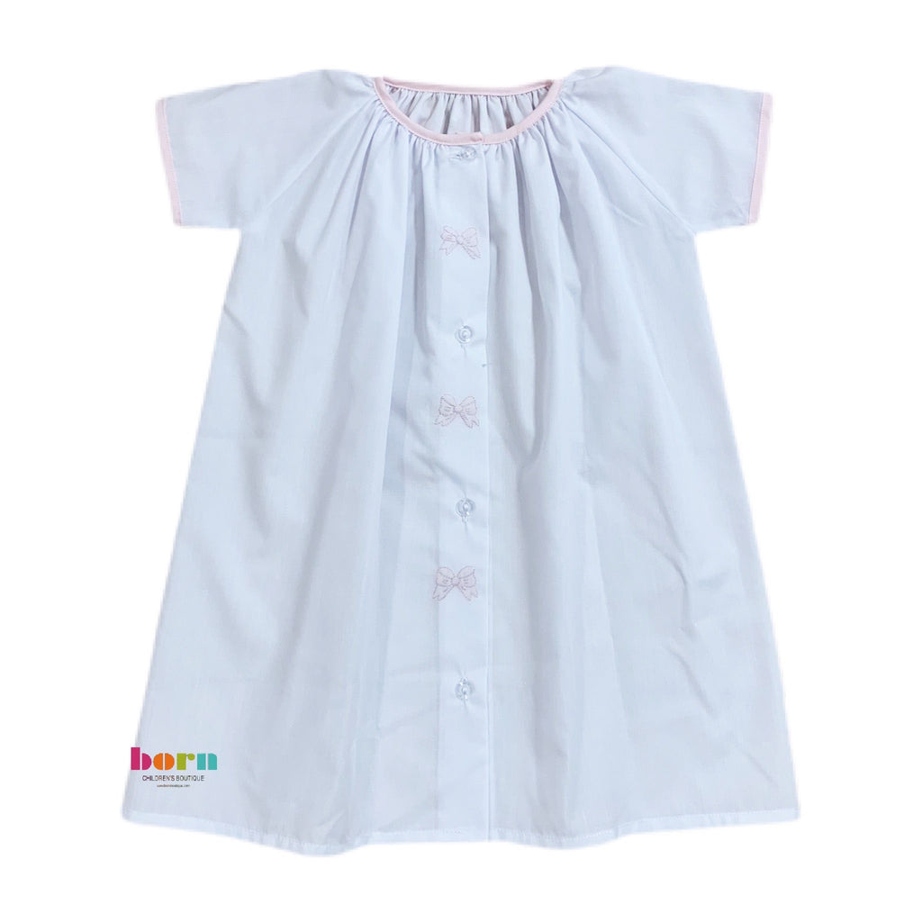 Gown White with Pink Bow - Born Childrens Boutique