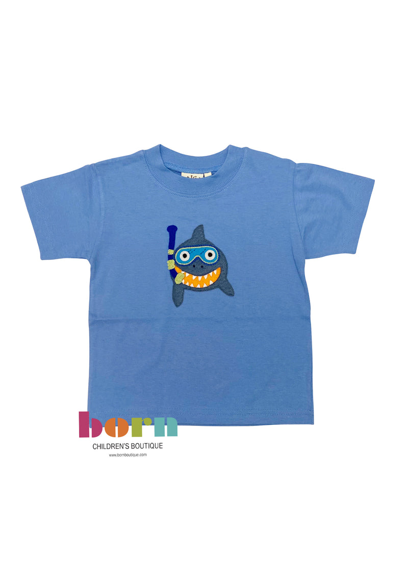 Chambray Shark Applique Short Sleeve Shirt