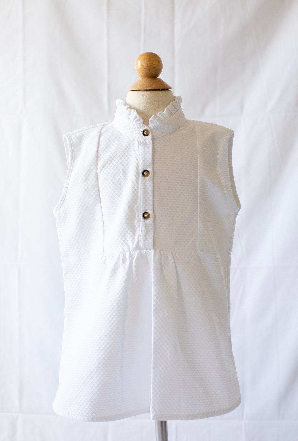 Sleeveless Tucker Top - White Pique - Born Childrens Boutique