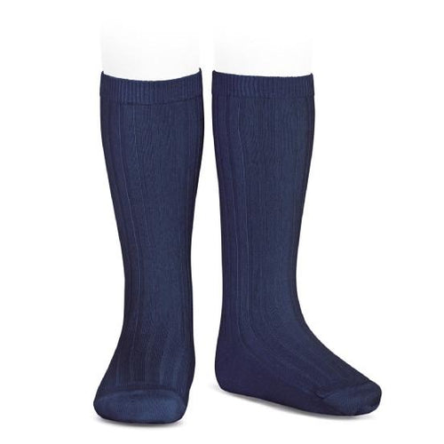 Ribbed Knee Socks Marino (Navy)