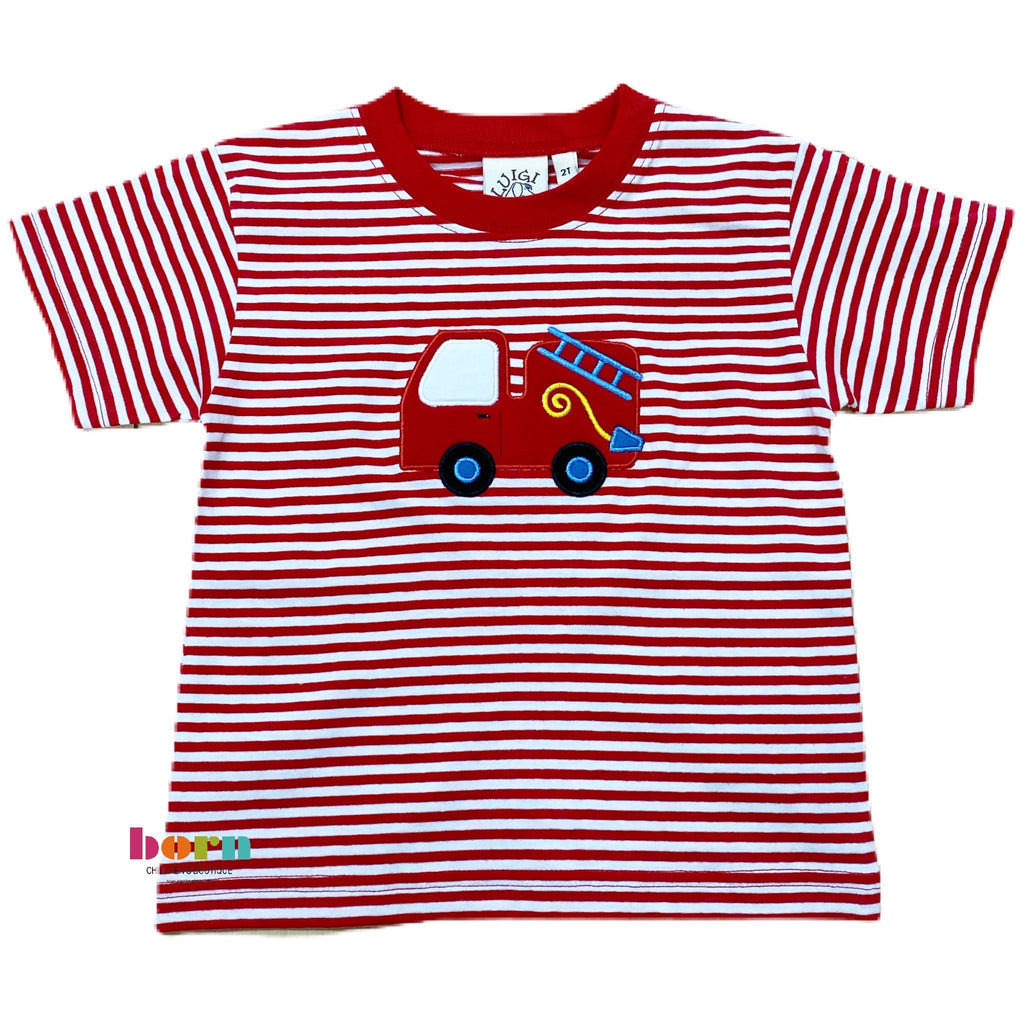 Boy S/S T-Shirt Short Fire Truck Red/Wht - Born Childrens Boutique