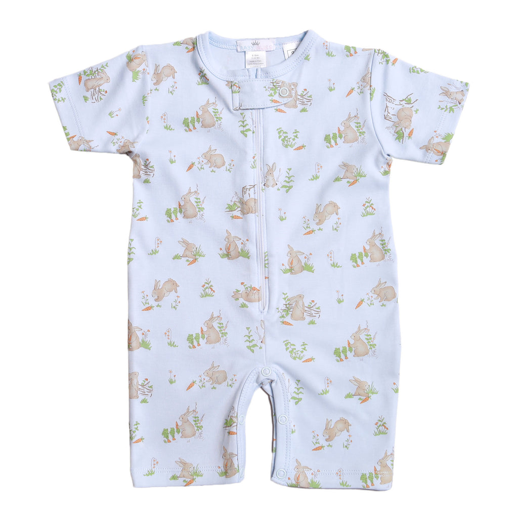 Blue Bunnies Pima Zipper Loungewear - Born Childrens Boutique